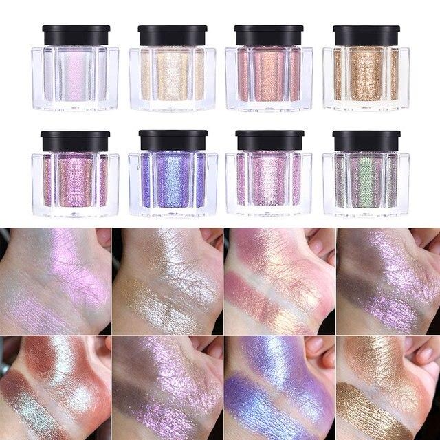 UCANBE 8 Holographic Metallic Duochrome Eye Shadow Crystal Glitter Shiny Eyeshadow Pigment Waterproof Liquid Eye Shadow Makeup