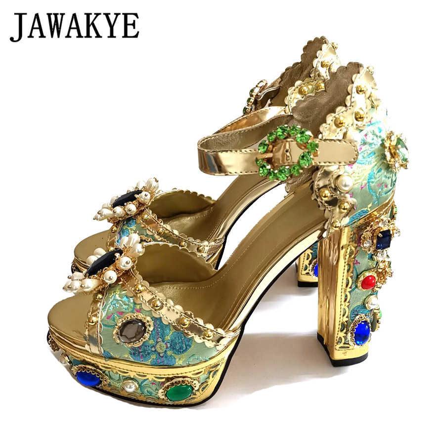 JAWAKYE Luxury Jeweled Rhinestone Heels