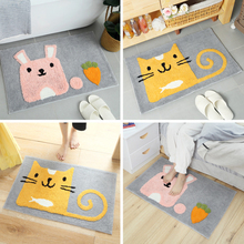 Water Absorption Rug Fleece Bathroom Kit Toilet Cartoon Pattern Cat Rabbit Bath Mats Floor Carpet Set Mattress for Bathroom Mats mandala water absorption coral fleece rug