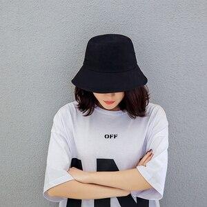 Black White Solid Bucket Hat Unisex Bob Caps Hip Hop Gorros Men women Summer Panama Cap Beach Sun Fishing boonie Hat(China)