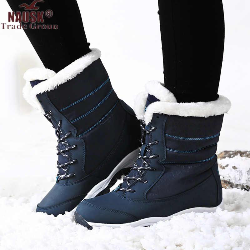 Frauen Stiefel Wasserdichte Winter Schuhe Frauen Schnee Stiefel Plattform Warm Halten Stiefeletten Winter Stiefel Mit Dicken Pelz Heels Botas Mujer 2019