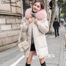 Jacket Women Winter 2019 New Female Fashion Hooded Big Fur Collar Down Coat Women Thick Warm Cotton Padded Long Parkas Outwear стоимость