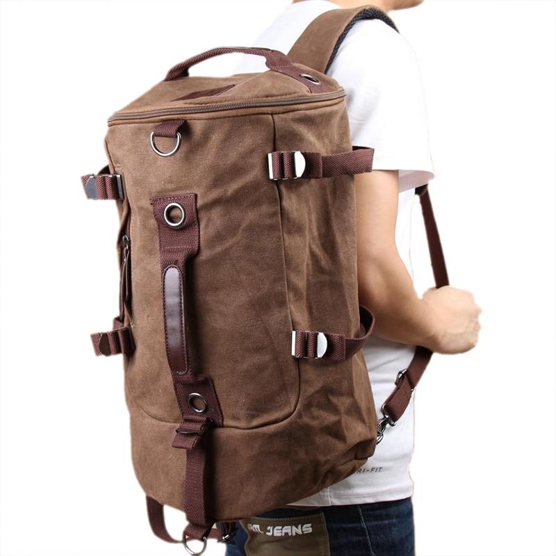 NEW-Men Vintage Canvas Backpack Rucksack Laptop Shoulder Outdoor Duffle Bag (Coffee)