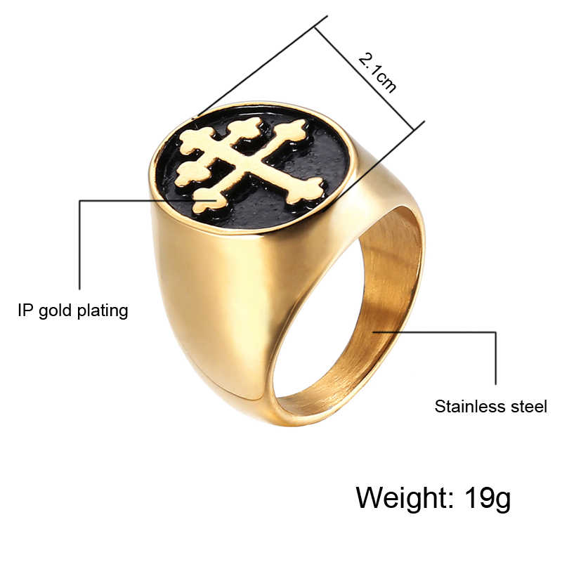 Ring For Men Orthodox Cross 3 Colors Top Quality Stainless Steel