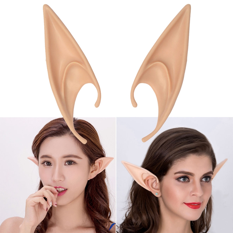 New 1 Pair PVC Fairy Pixie Fake Elf Ears Halloween Mask New Party Mask Scary Halloween Decoration Soft Pointed Prosthetic Ears L