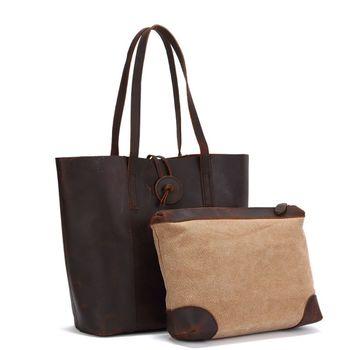 Unisex Vintage Leather Top Handle Bag Large Capacity Tote Messenger Shoulder Purse Handbag