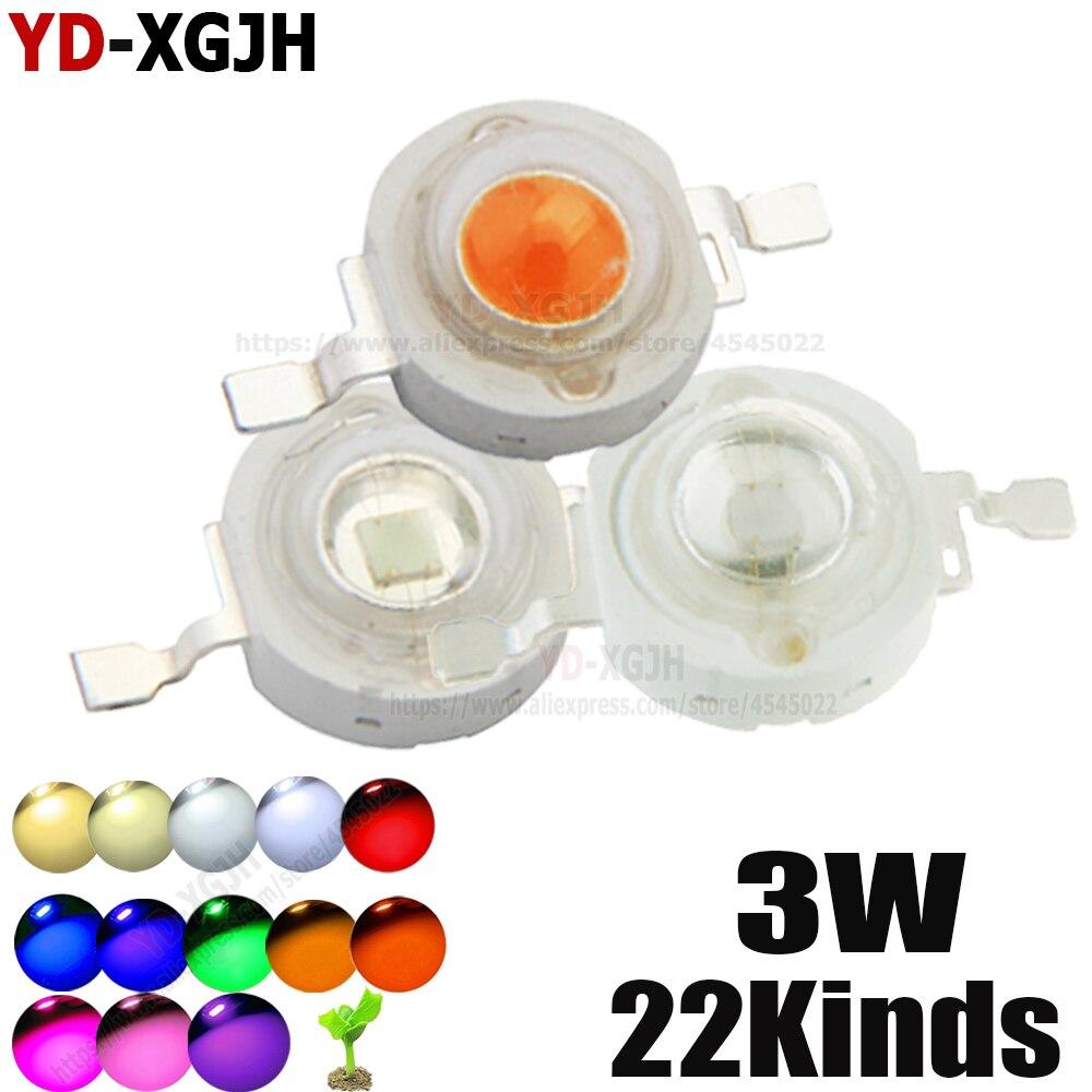 10pcs High Power LED Chip 3W Warm Cool White Red Blue Green Full Spectrum UVA For 440nm 660nm LED Grow Light  3 Watt Light Beads