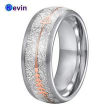Anillo de boda de carburo de tungsteno para hombre y mujer, con Flecha de acero dorado rosa y incrustación de meteorito blanco, novedad