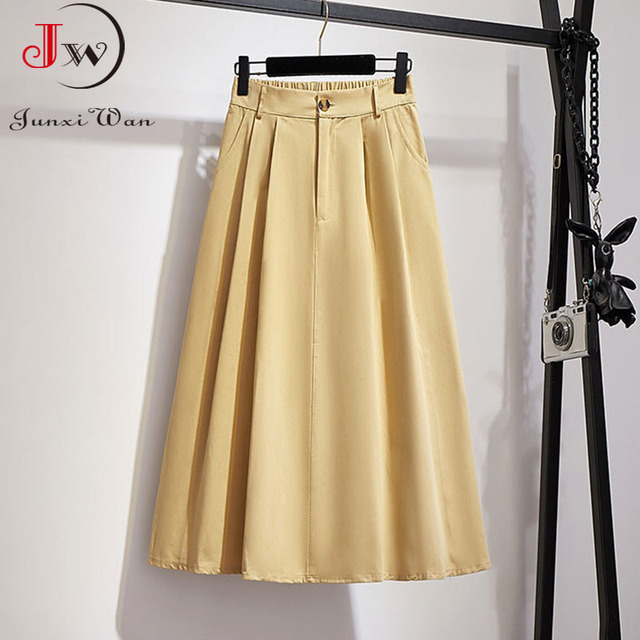 Women Cotton Skirt 2021 Spring Summer Preppy Style Solid Casual Elegant Pocket Elastic High Waist A-Line Midi Skirts Faldas 6