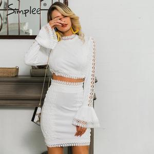 Image 2 - Simplee Elegante vrouwen lace bodycon jurk Wit 2 pieces hollow out herfst jurk pak Winter sexy party club korte party jurken