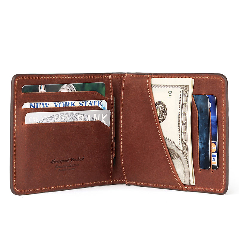Crazy Horse New Small Wallet Men Wallets Coin Purse Quality Short Male Money Bag Rifd Cow Leather Card Wallet Cartera