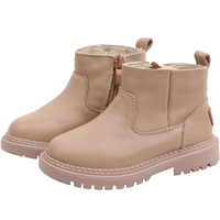 Children Leather Shoes Winter Girls Boots Fashion Solid Color Toddler Girl Boots Warm Anti slip Kids Boys Shoes Cotton SX211