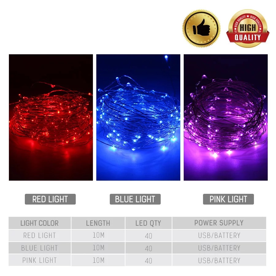 10M LED String Silver Wire Fairytale  Red Purple Blue Garland Family Christmas Wedding Party Decoration USB Power Battery