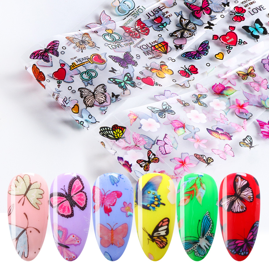 10pcs Butterfly Nail Foils Set Nail Transfer Stickers Charms Flowers Floral Polish Adhesive Wraps Decals Manicure Design TRXK102