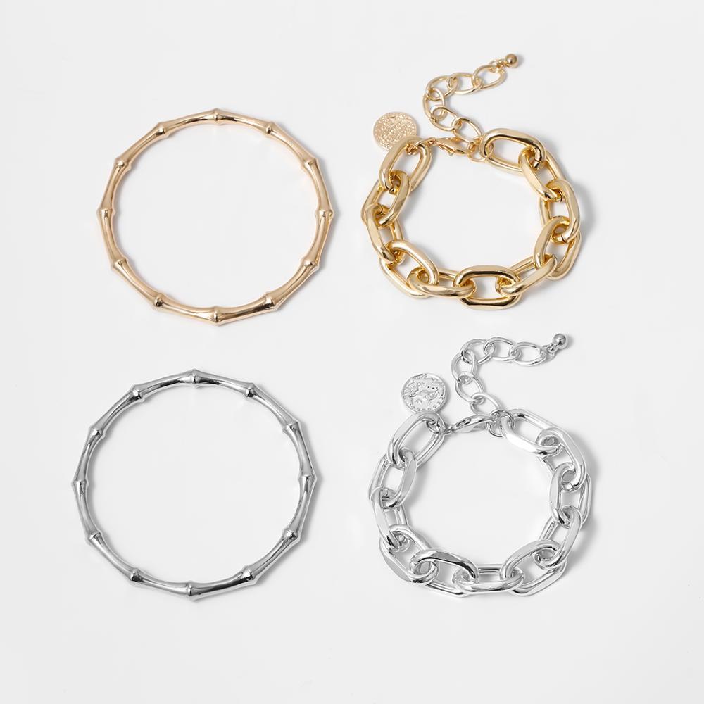 Ingemark Punk 2Pcs/Set Bamboo Chunky Chain Bracelets Set Bangles Women Men Armband Steampunk Lock Bracelet Friends Hand Jewelry Uncategorized 8d255f28538fbae46aeae7: Gold Set|silver color