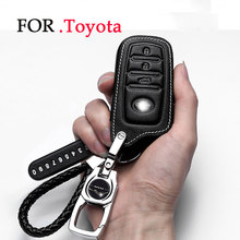 цена на Key Rings/Leather Car Key Case For Toyota RAV4 PRADO Highlander COROLLA Camry 2019 Prius Reiz CROWN Avalon protect cover shell