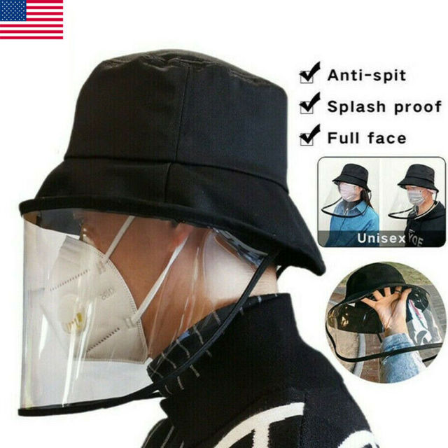 2020 New Unisex Women Men Fashion Outdoor Protection Hat Anti Saliva Hat Full Face Shield Bucket Hats with Clear Mask 1
