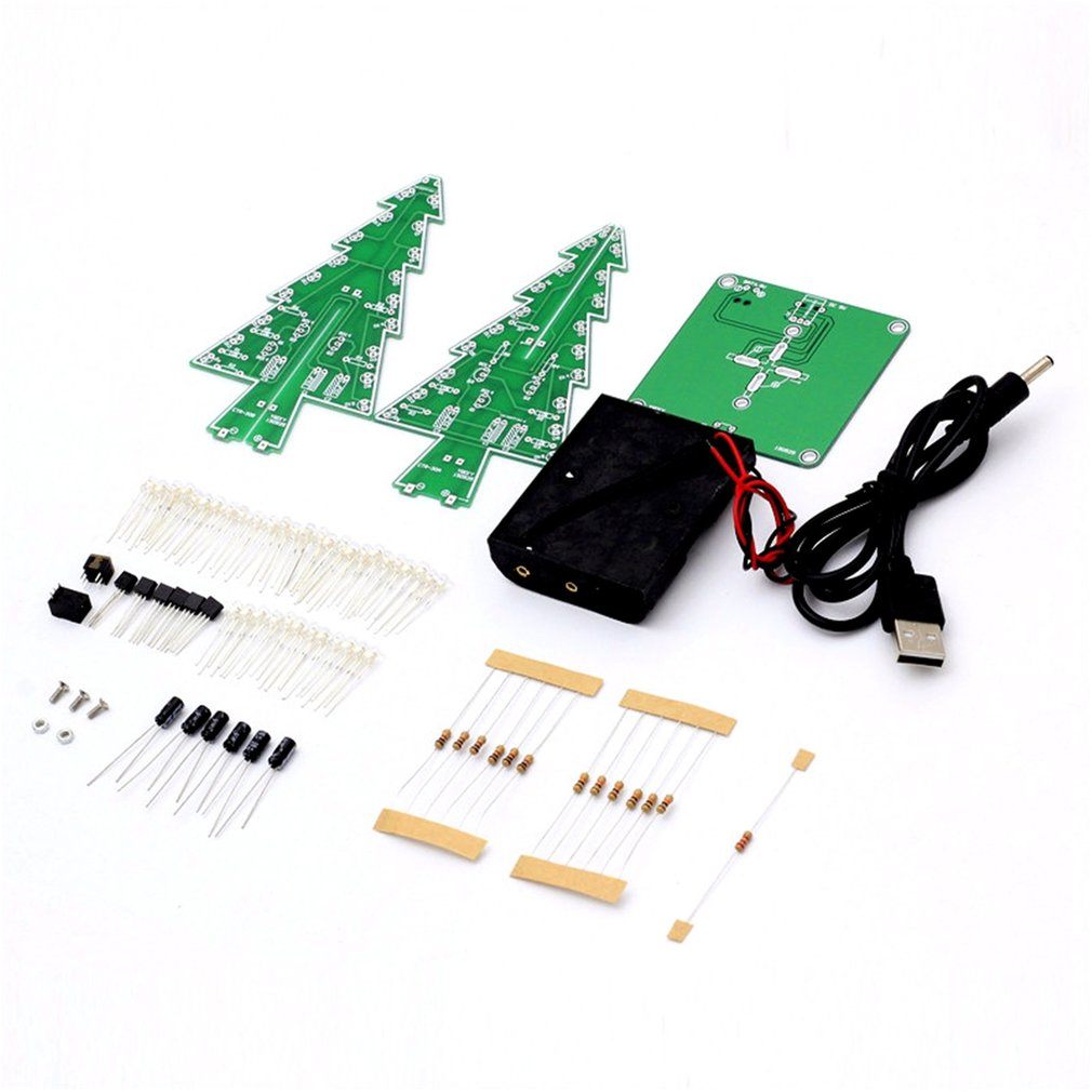 Decor Electronic LED Flash Circuit Parts Christmas Tree 3D Tree LED DIY Kit Environmentally Friendly Materials