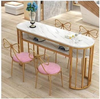 Nowy stół do manicure pojedynczy podwójny prosty nowoczesny stół do manicure okrągły podwójny stół ekonomiczny stół do manicure stół z krzesłami tanie i dobre opinie Metal Salon mebli Stół paznokci Meble sklepowe