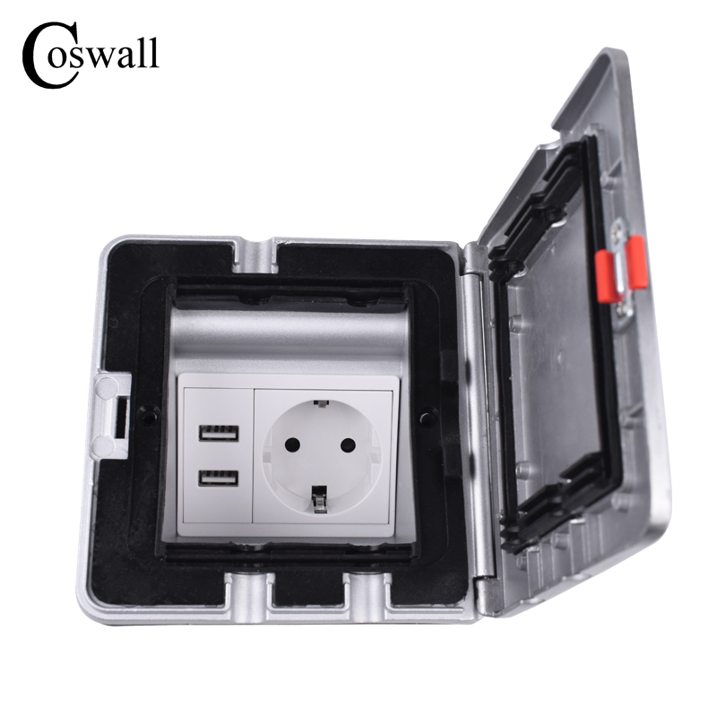 Coswall Aluminum Silver Panel IP55 Waterproof Floor Socket 16A EU Standard Power Outlet With Dual USB Charging Port 5V 2.1A Max.