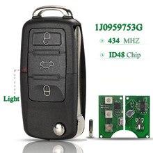 Пульт дистанционного управления с 3 кнопками, 434 МГц, с чипом ID48 для VW Passat Polo Skoda Seat Altea Ibiza Leon Toledo 1J0959753G