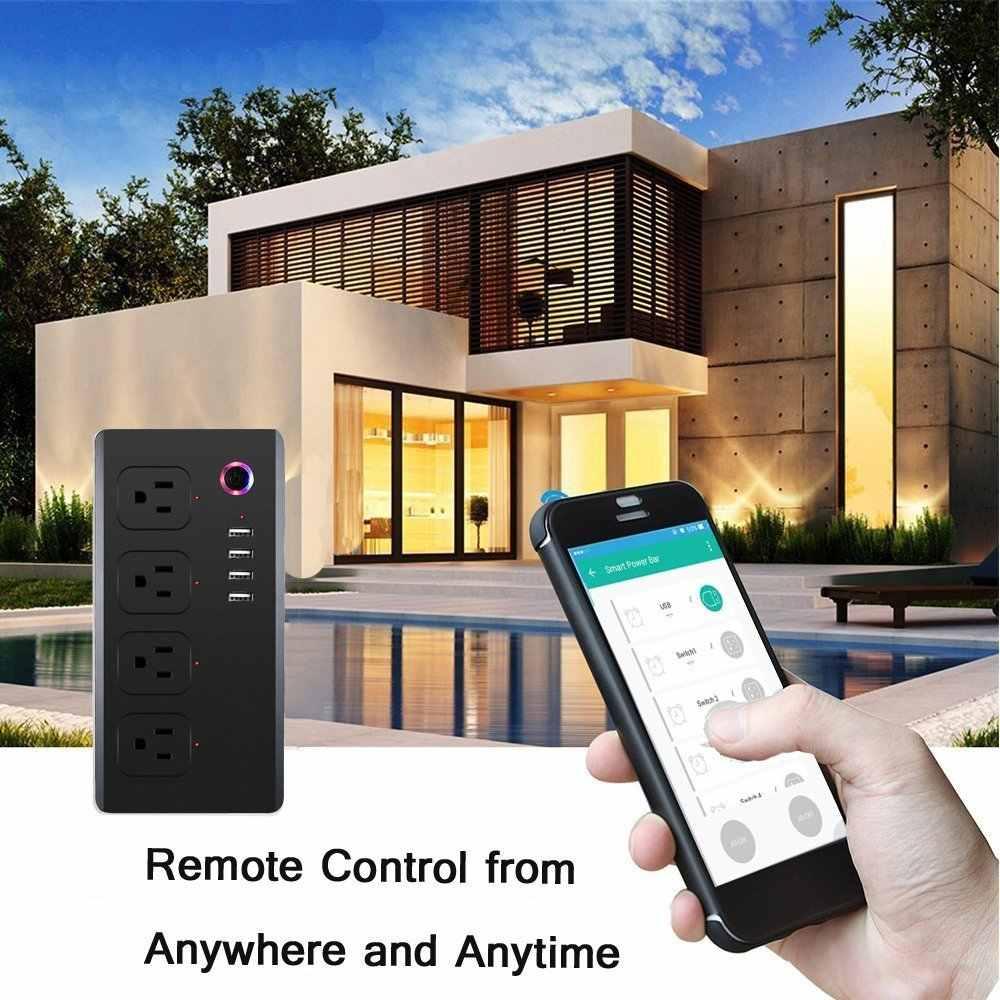 واي فاي قطاع الطاقة ، عرام حامي الذكية 4 فيشة خارجية صوت تسيطر عليها الأمازون صدى دوت ، لاسلكي للتحكم عن بعد ، 4 منافذ USB