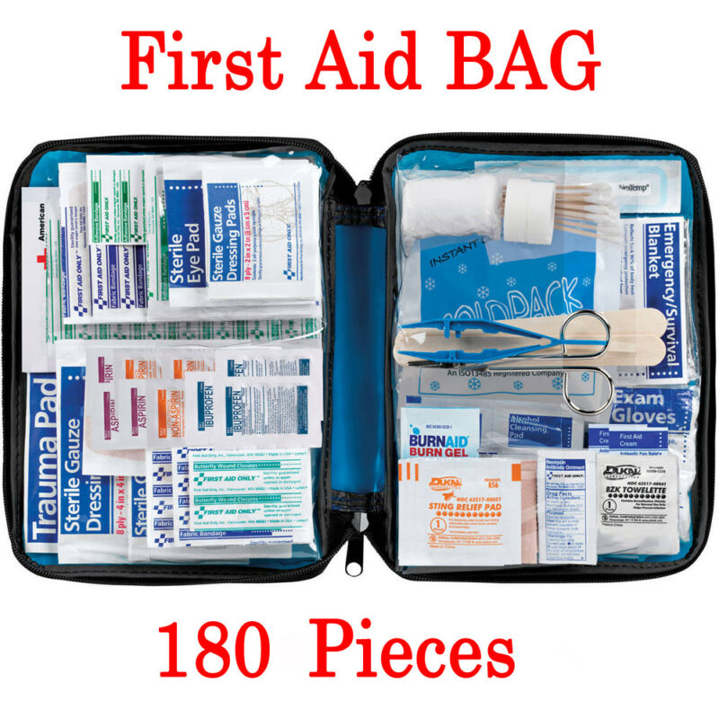 180pcs 30 Item First Aid Kit Medical Emergency Bag Portable Outdoor Survival Rescue Car Luggage School Hiking Safty Kits Box