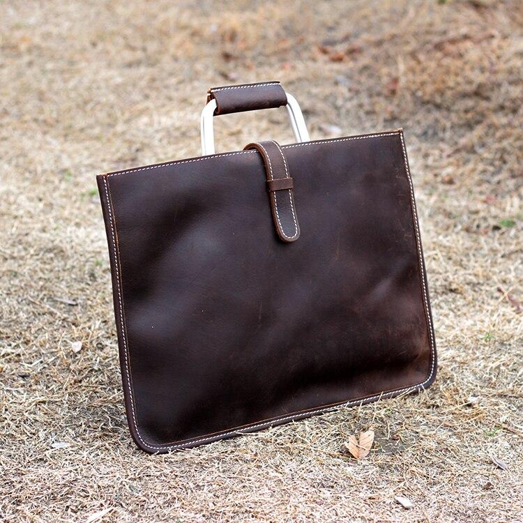 Men Handbag Briefcase Laptop-Bag Vintage Crazy Luxury Pure 13-