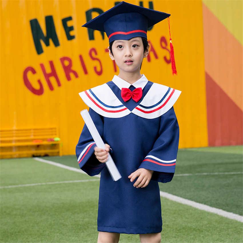 Dzieci Graduation Class College Team mundurki szkolne studenci chłopcy dziewczęta lekarz odzież sceniczna sukienka akademicka + czapka