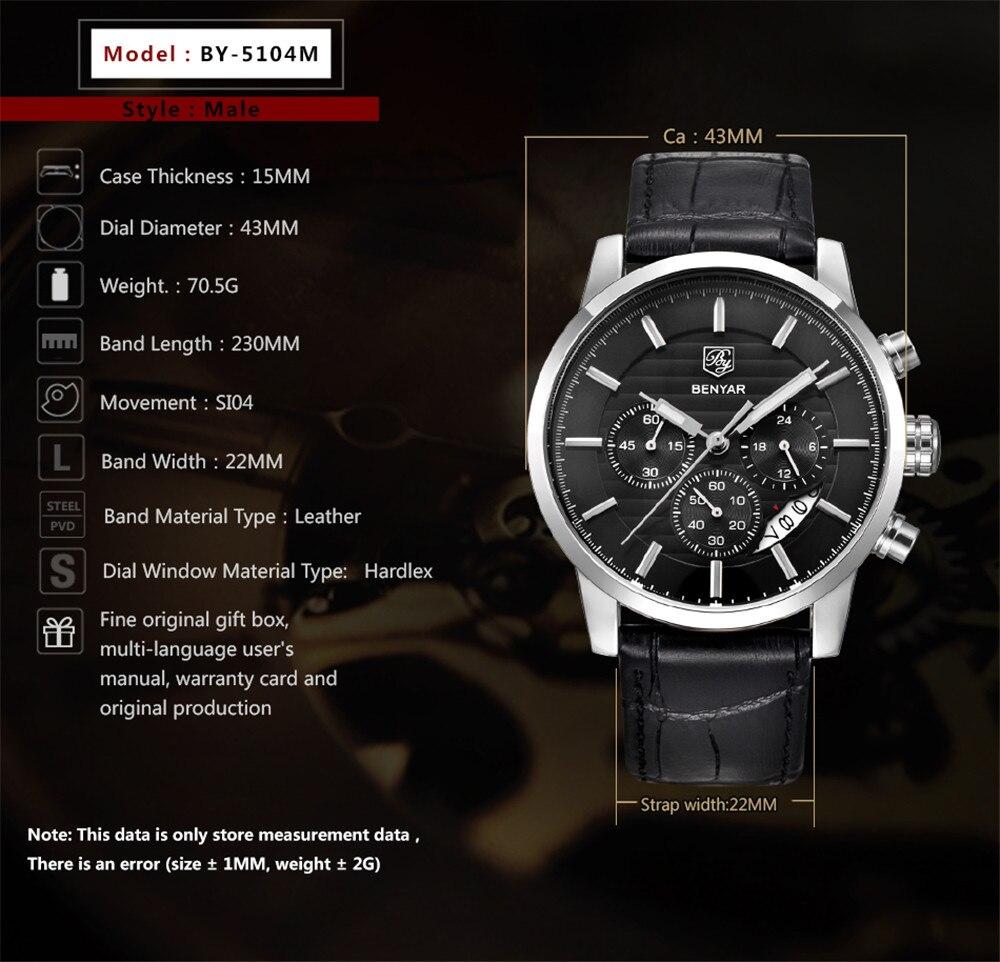 Reloj Hombre BENYAR mode chronographe Sport hommes montres haut de gamme de luxe affaires montre à Quartz horloge Relogio Masculino - 2