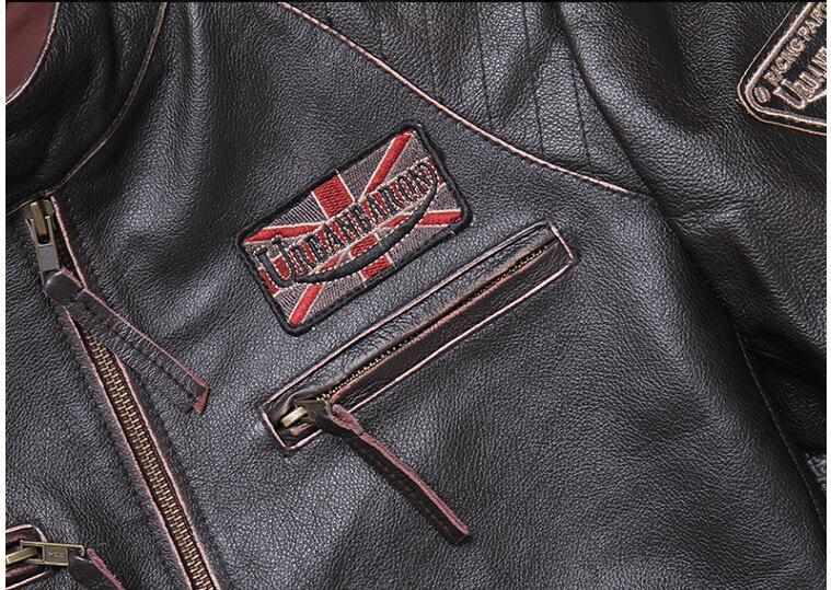 H6f249e15ae404167b0348f685176d015l 2019 Vintage Brown Men Slim Fit Motorcycle Leather Jacket Plus Size XXXXL Genuine Cowhide Spring Biker's Coat FREE SHIPPING