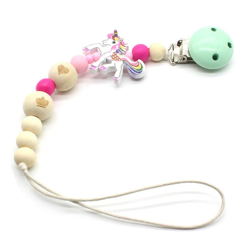 Baby Pacifier Clip Chain Wooden Beads Dummy Clip Chupetas Soother Chewable Pacifier Clips Unicorn Beads Holder Anti-Drop Rope