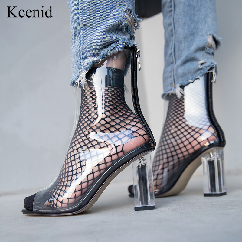 Kcenid Plus size 33 43 new sexy peep toe crystal heel transparent women ankle boots back