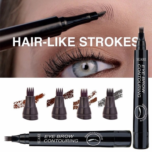 Microblading Eyebrow Tattoo Pen 4 Colors 3D 4 Fork Tips Fine Sketch Liquid Eyebrow Pencil Waterproof Eyebrow Tint Makeup TSLM1 2