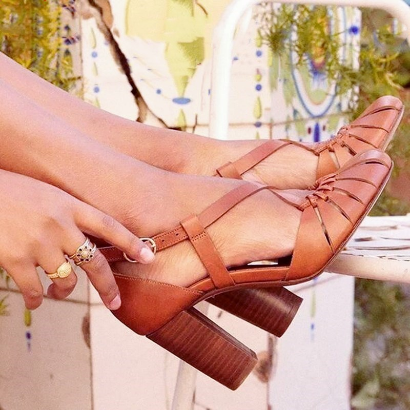 EOEODOIT Summer Women High Heel Leather Sandals Retro Round Toe Hollow Out Plus Size Female Square Heel Buckle Cover Heels Shoes