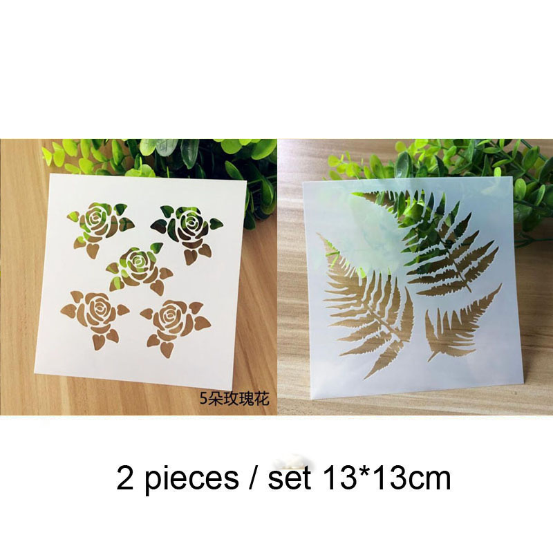 2pc Rose Painting Template For Wall Painting Scrapbooking Album Decor Embossing Template Bullet Journal Supplies Leaves Stencils