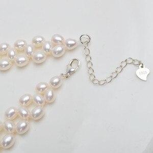 Image 4 - Ashiqi天然淡水真珠のネックレス本物の925スターリングシルバークラスプ4.5 5ミリメートル真珠手作りウィービングジュエリー