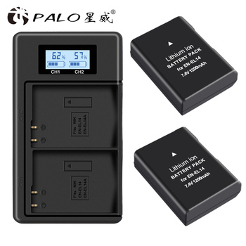 PALO 2pc EN-EL14 EN-EL14a ENEL14 EN EL14 EL14a Battery+LCD USB Dual Charger for Nikon D3100 D3200 D3300 D5100 D5200 D5300 P7000 bonacell 1500mah en el14 enel14 en el14 camera battery dual charger for nikon d5200 d3100 d3200 d5100 p7000 p7100 mh 24