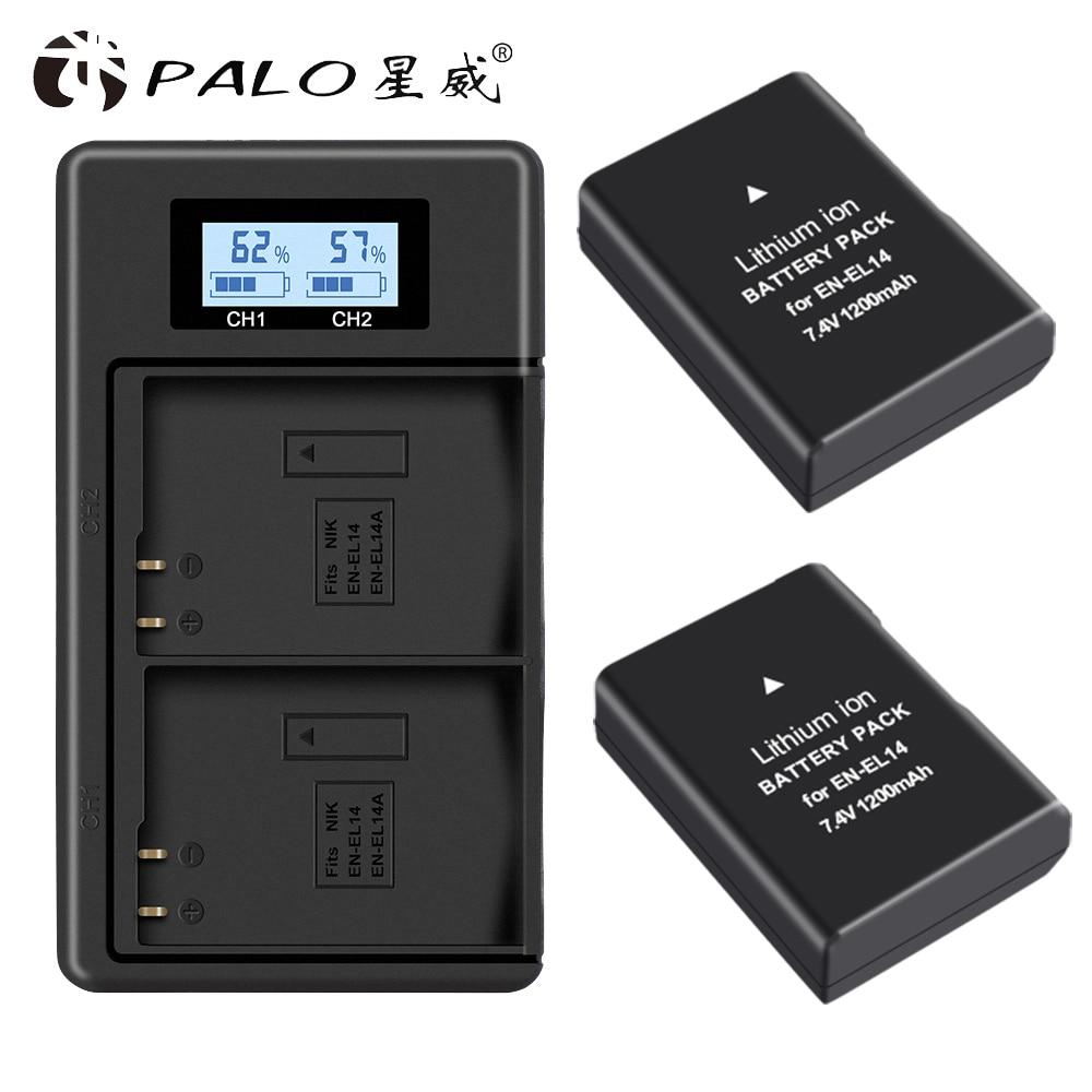 PALO 2pc EN-EL14 EN-EL14a ENEL14 EN EL14 EL14a Batterie + LCD Chargeur Double USB pour Nikon D3100 D3200 D3300 D5100 D5200 D5300 P7000