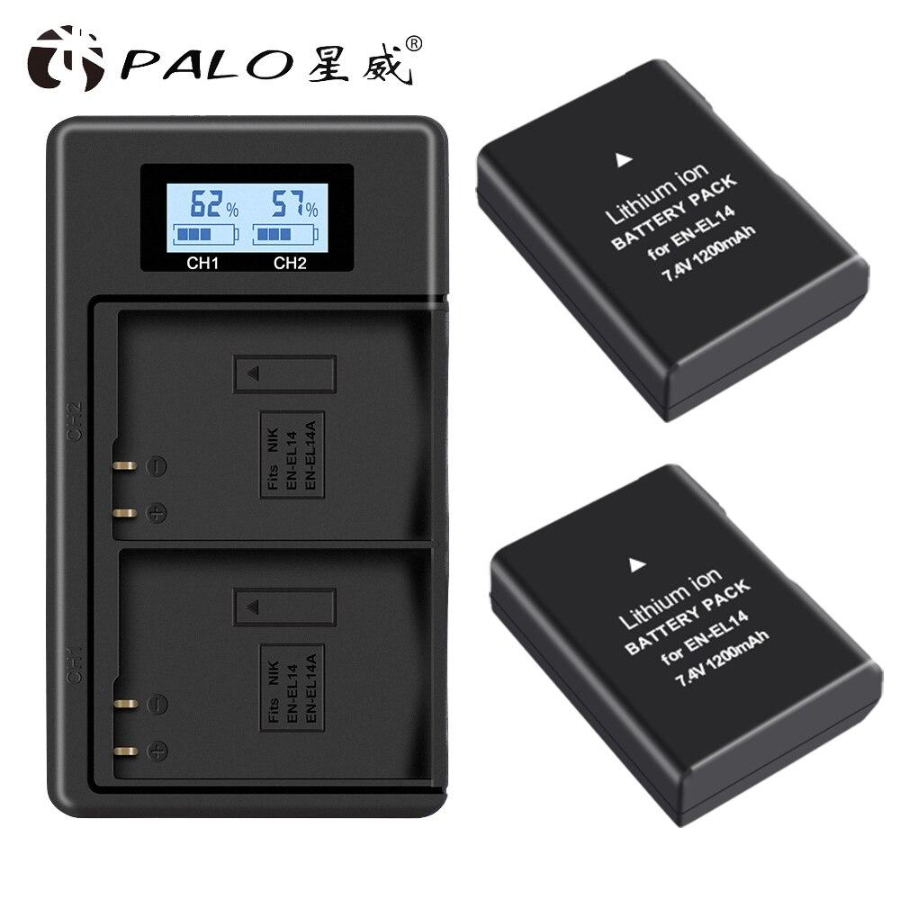 Palo 2 Pc EN-EL14 EN-EL14a ENEL14 En EL14 EL14a Batterij + Lcd Usb Dual Charger Voor Nikon D3100 D3200 D3300 d5100 D5200 D5300 P7000