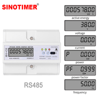 RS485 220/380V 5 100A 3 Phase 4 Wire DIN Rail Energy Meter Digital Power Factor Monitor with Voltage Current Frequency Display