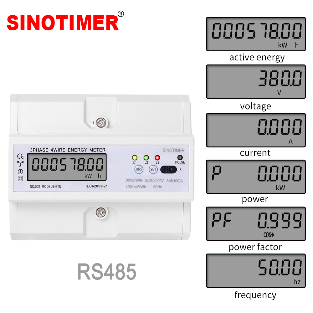 RS485 220/380V 5-100A 3 Phase 4 Wire DIN Rail Energy Meter Digital Power Factor Monitor With Voltage Current Frequency Display