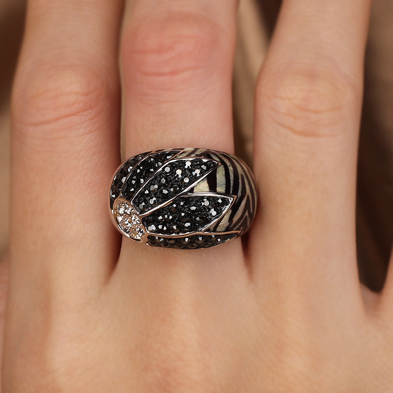 Minimum price sale alloy Rhinestone Ring Leopard shell High quality Non fading Discount sale Free shipping(China)