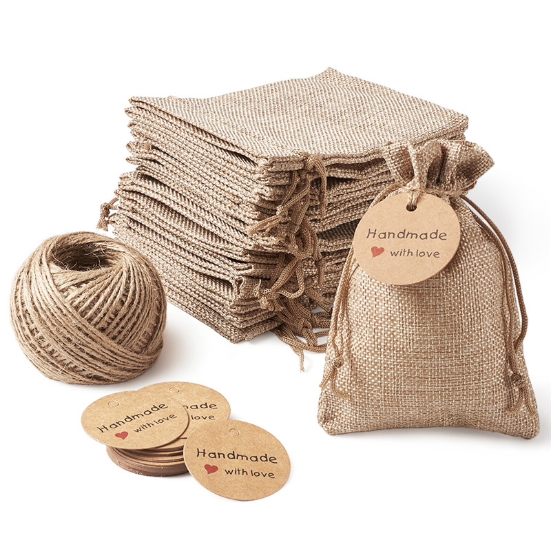 Pandahall Burlap Packing Pouches Drawstring Bags Paper Price Tags And Hemp Cord Twine String For Jewelry Making Jewelry Display