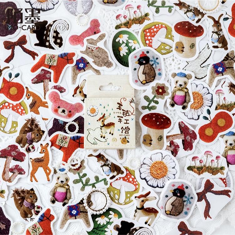 46 Pcs/pack Felt Handicraft Museum Bullet Decorative Washi Stickers Scrapbooking Stick Label Diary Stationery Album Stickers