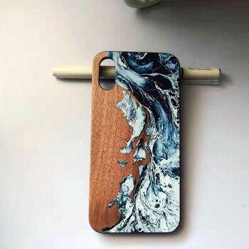Graffiti artístico de madera real, naturaleza y caja de teléfono de dibujo de color para Iphone 6 S 7 8 plus X S R MAX, carcasa de teléfono de madera retro