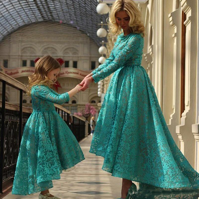 Long Sleeves Arabic Mother And Daughter Prom Party Dresses Full Lace Hunter Custom Made Cheap Hi Lo Evening Gowns