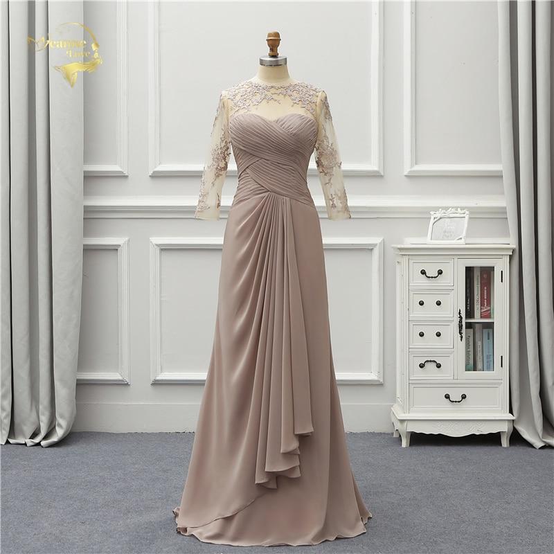 Jeanne Love Formal Luxury Long Evening Dress 2019 New Arrival Three Quarter Lace Robe De Soiree Vestido De Festa OL5237
