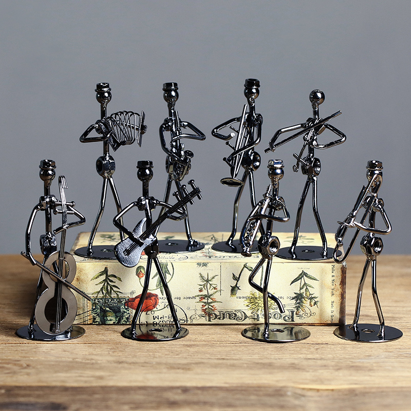 Set Of 8pcs Mini Band Sculpture Musical Instrument Figurine Ornament Iron Music Man Figurines Home Decoration Christmas Gift
