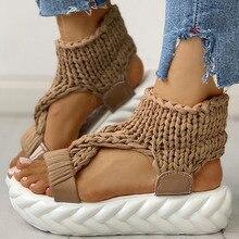 women's Flat Platform Knitting Light Comfortable Slip On Gladiator Summer Sandals